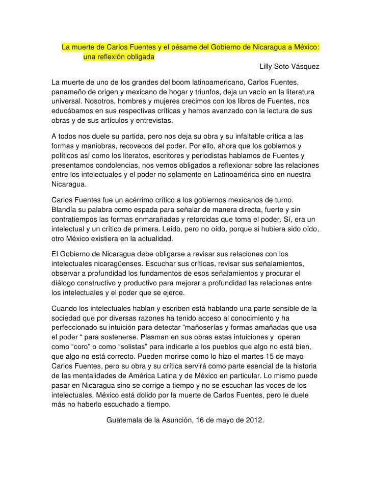La muerte de Carlos Fuentes y el pésame del Gobierno de Nicaragua a México:        una reflexión obligada                 ...