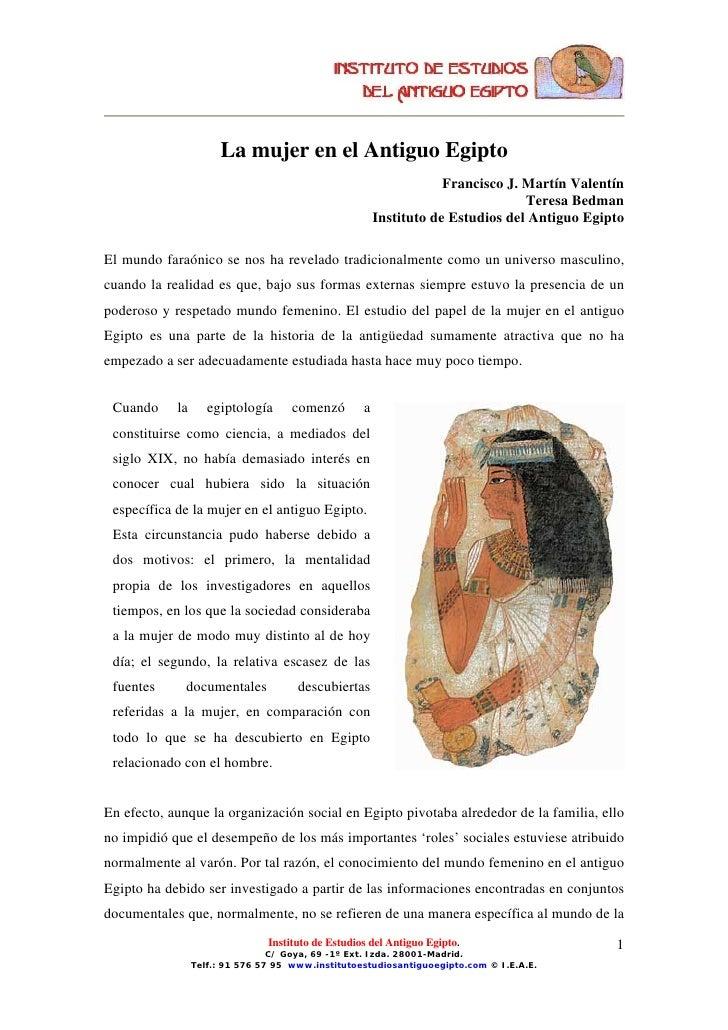 La mujer en el Antiguo Egipto                                                                     Francisco J. Martín Vale...