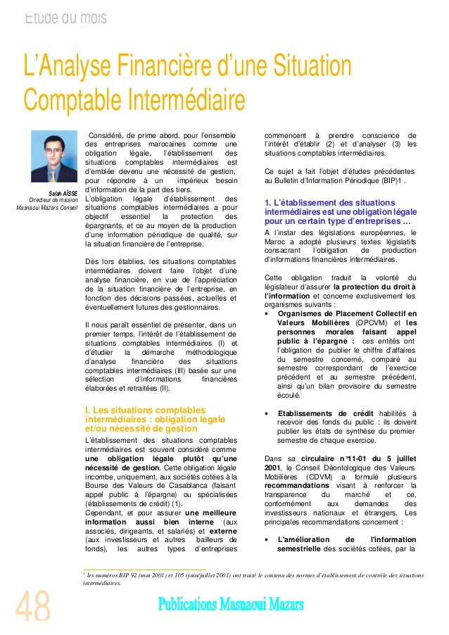 L'analyse comptable de la situation intermdiaire