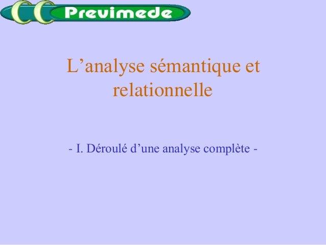 L'analyse sémantique etrelationnelle- I. Déroulé d'une analyse complète -