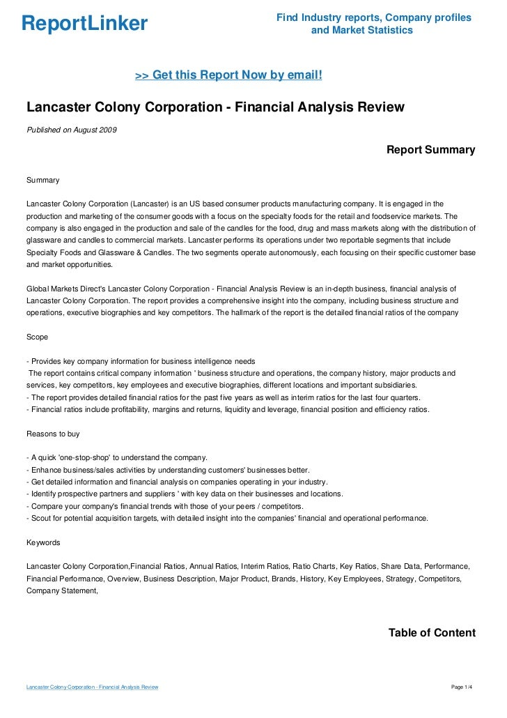 Lancaster Colony Corporation - Financial Analysis Review