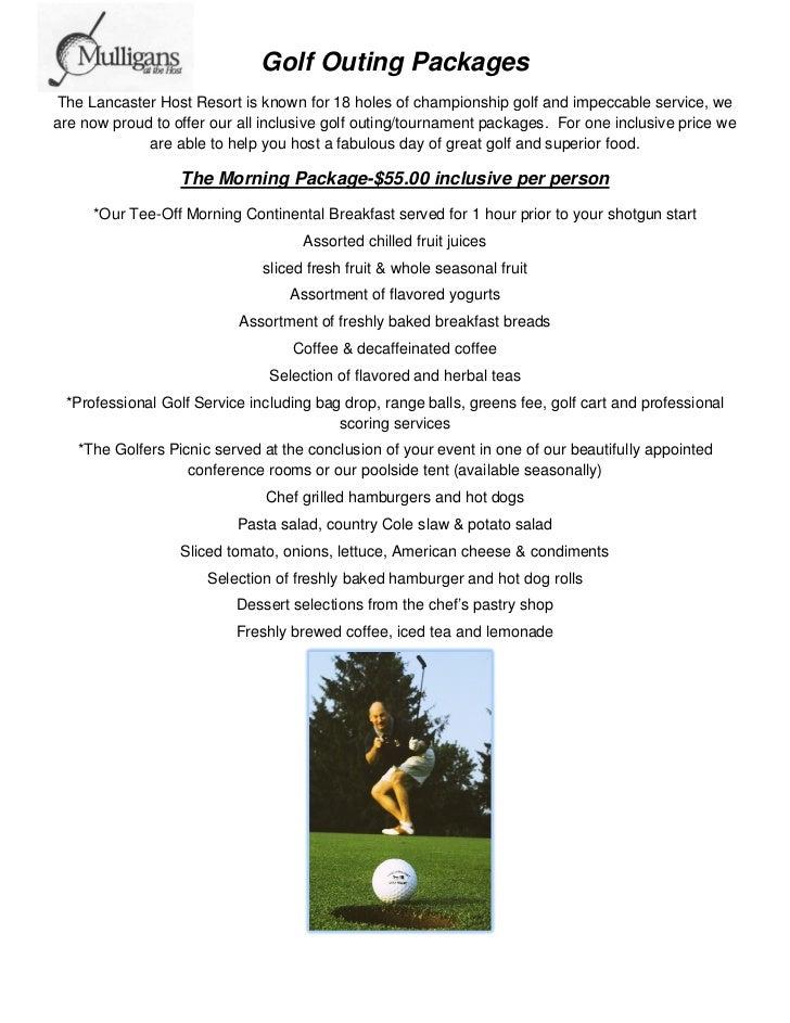 Lancaster Host Golf Outing Menu