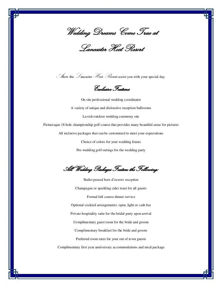Lancaster Host Wedding Menus