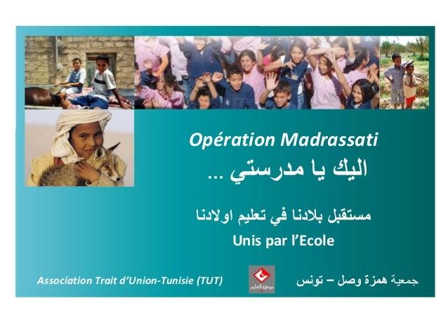Opération Madrassati جمعيةهمزةوصل-تونسAssociation Trait d'Union-Tunisie (TUT) ... اليكمدرستي يا تعليم في...