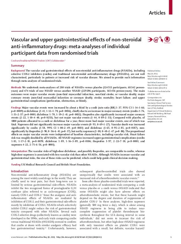 Vascular and upper gastrointestinal effects of non-steroidal anti-inflammatory drugs: meta-analyses of individual participant data from randomised trials