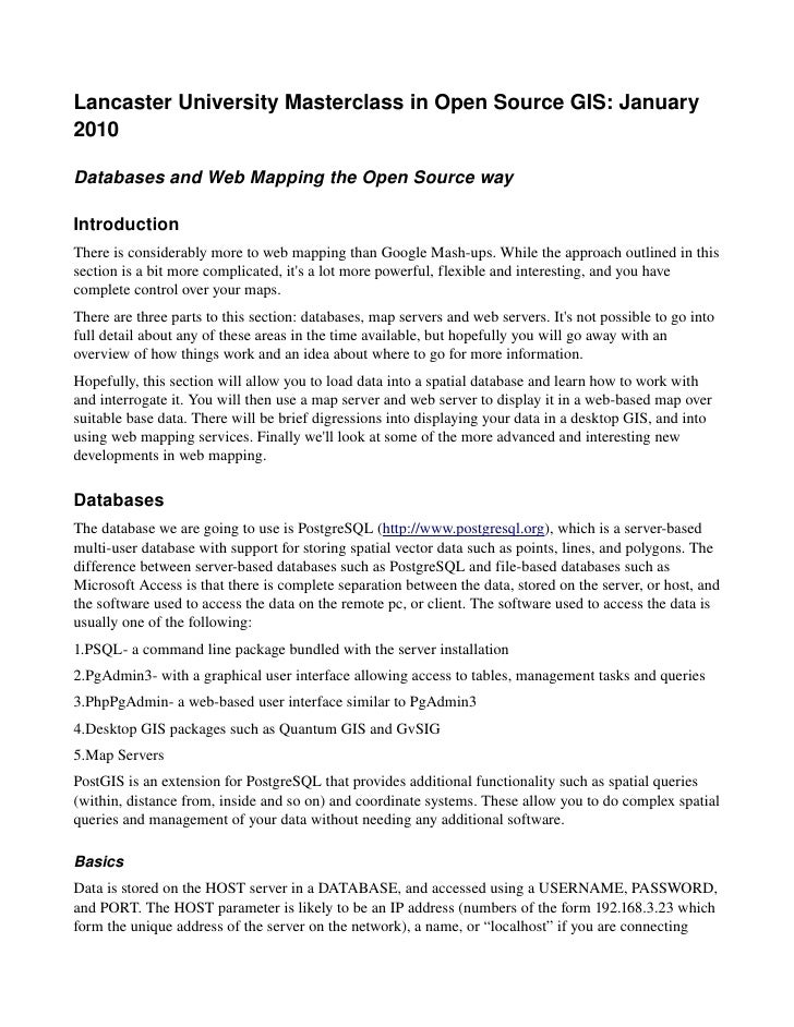 Lancaster University Masterclass in Open Source GIS: January  2010  Databases and Web Mapping the Open Source way  Introdu...