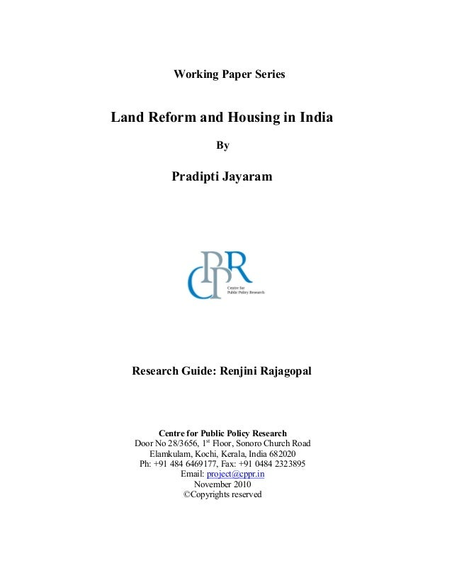 Land reform and housing in India Report
