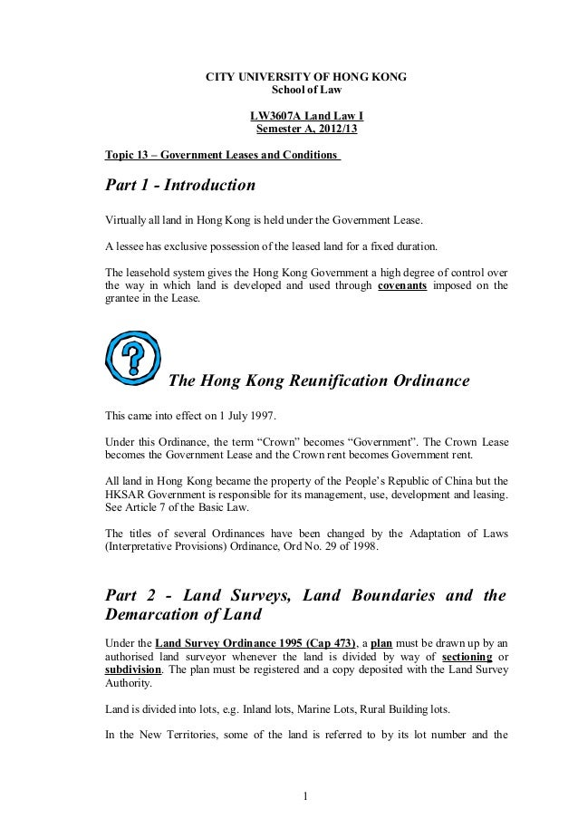 CITY UNIVERSITY OF HONG KONG                                School of Law                                LW3607A Land Law ...