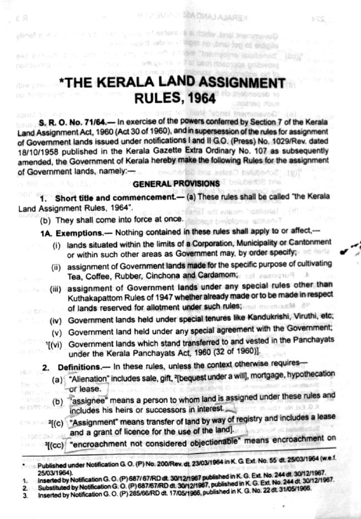 Kerala Land Assignment Rules-1964