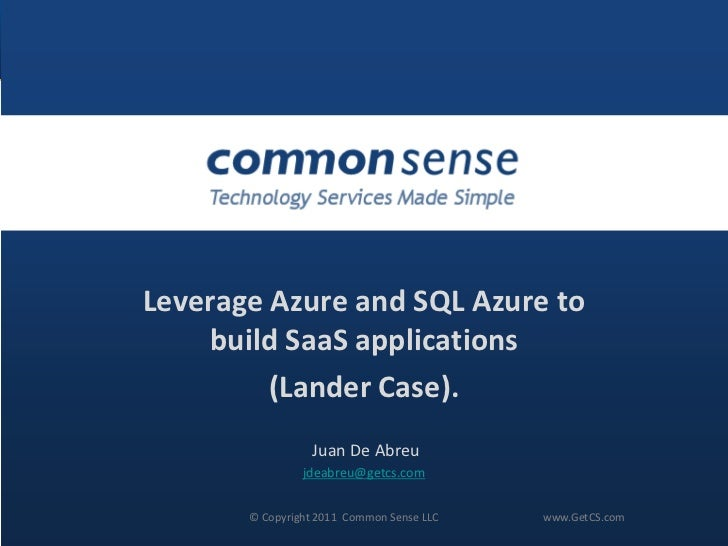 Leverage Azure and SQL Azure to build SaaS applications