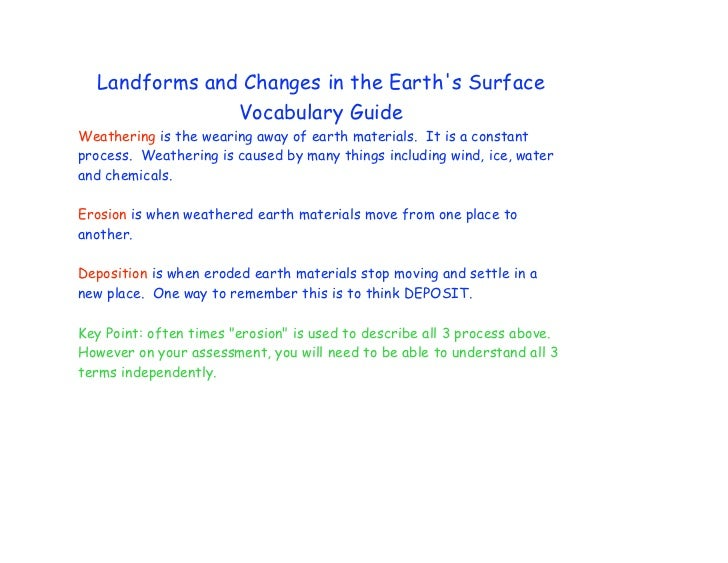 Landforms and Changes in the Earths Surface               Vocabulary GuideWeathering is the wearing away of earth material...