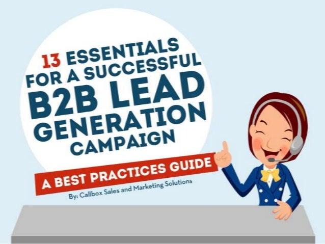 13 Essentials For a Successful B2B Lead Generation Campaign