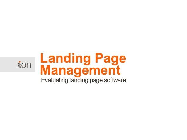 Landing Page Management: Evaluating Landing Page Software