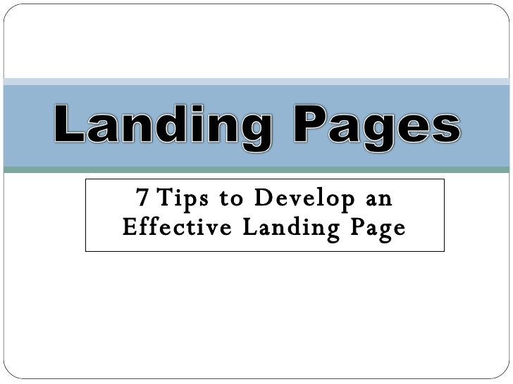 Landing Pages - 5 Tips to an Effective Landing Page
