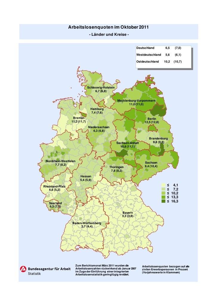 Arbeitslosenquoten im Oktober 2011                                  - Länder und Kreise -                                 ...