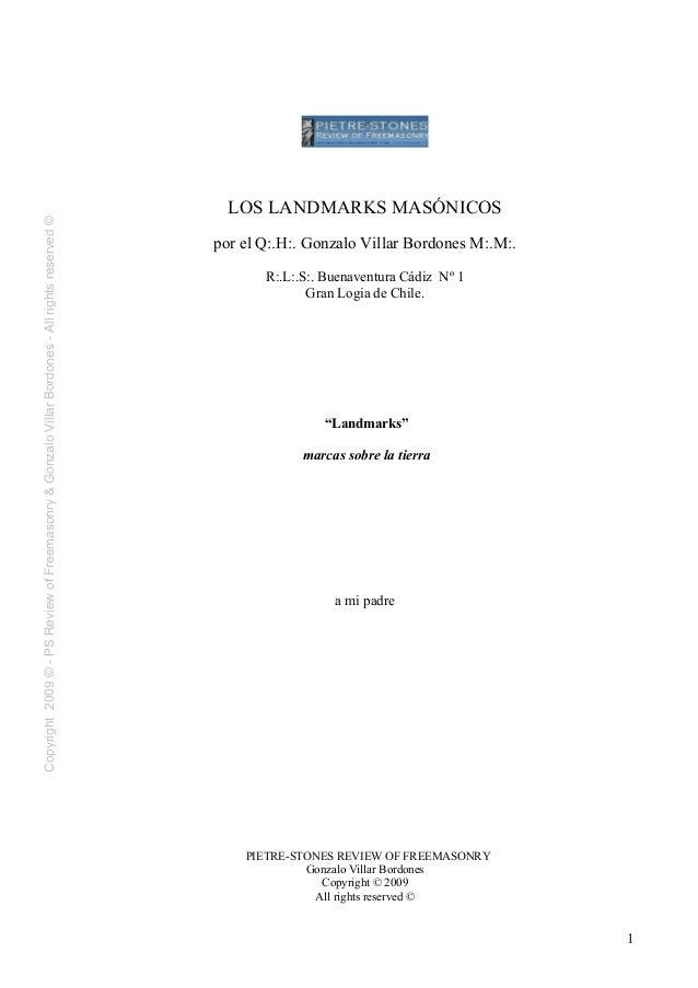 Copyright2009©-PSReviewofFreemasonry&GonzaloVillarBordones-Allrightsreserved©LOS LANDMARKS MASÓNICOSpor el Q:.H:. Gonzalo ...