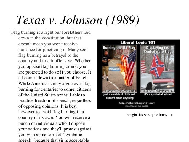 essay written on texas vs. johnson Texas v johnson, 491 us that its protection does not end at the spoken or written texas suggests that johnson's conviction did not depend on.