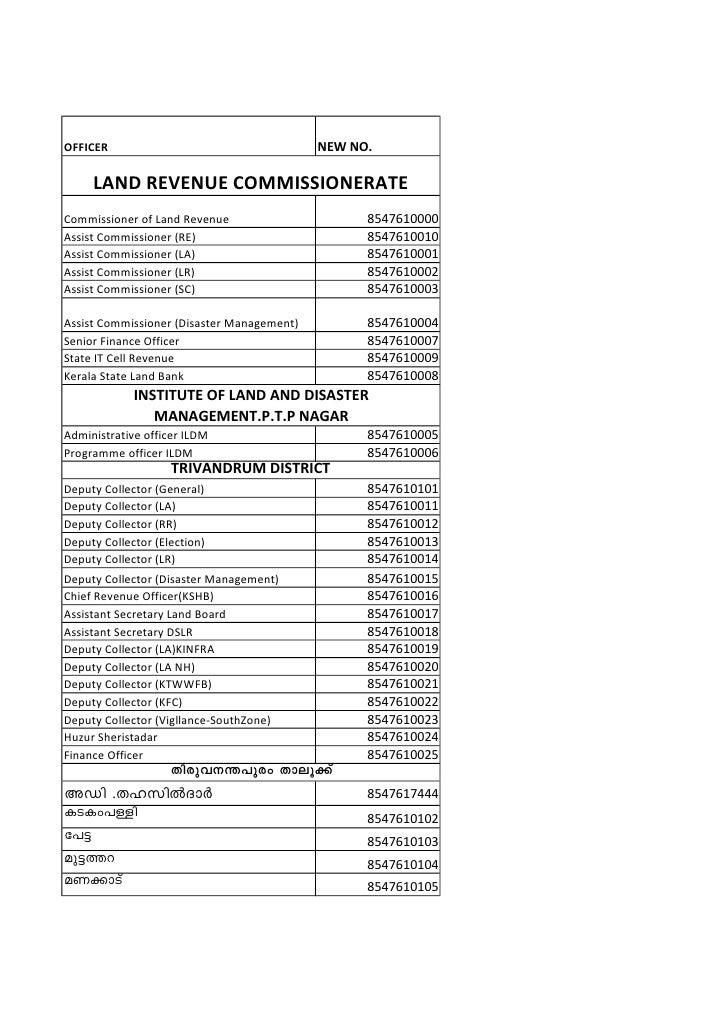 OFFICER                                     NEW NO.     LAND REVENUE COMMISSIONERATECommissioner of Land Revenue          ...