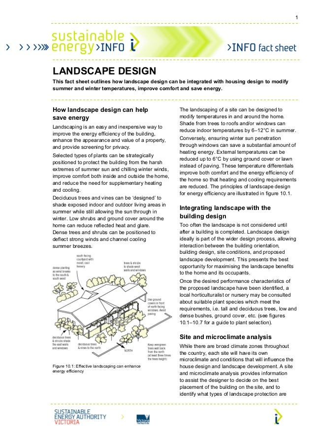 1LANDSCAPE DESIGNThis fact sheet outlines how landscape design can be integrated with housing design to modifysummer and w...