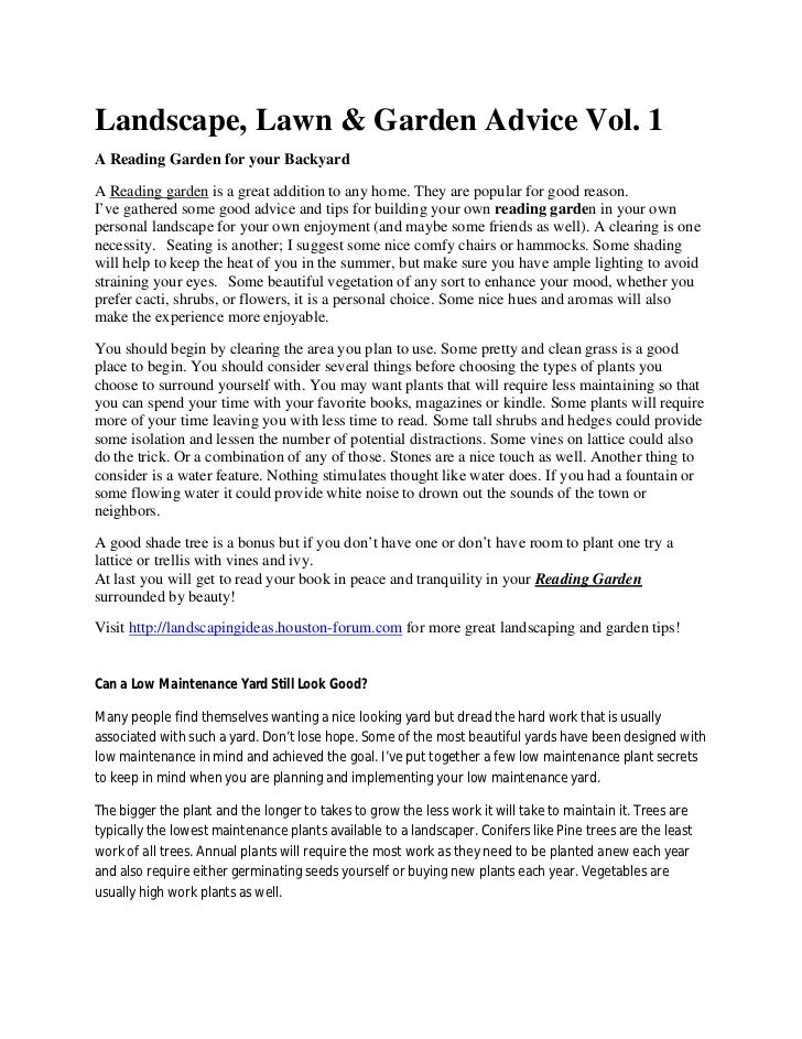 Landscape, Lawn & Garden Advice vol. 1