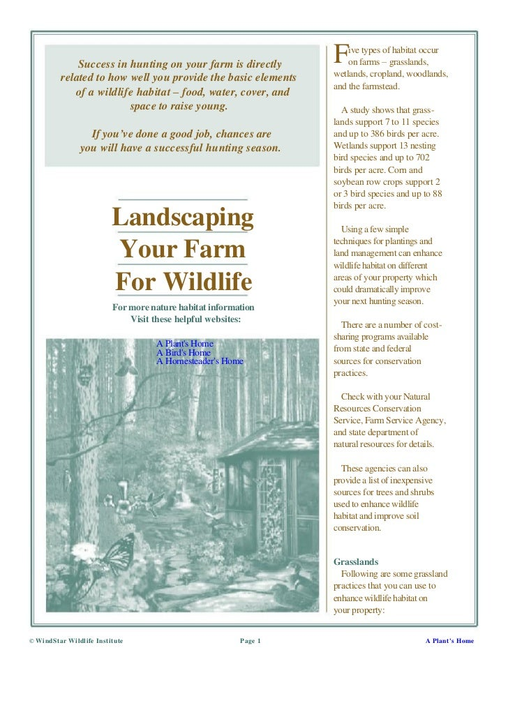 Landscaping Your Farm For Wildlife