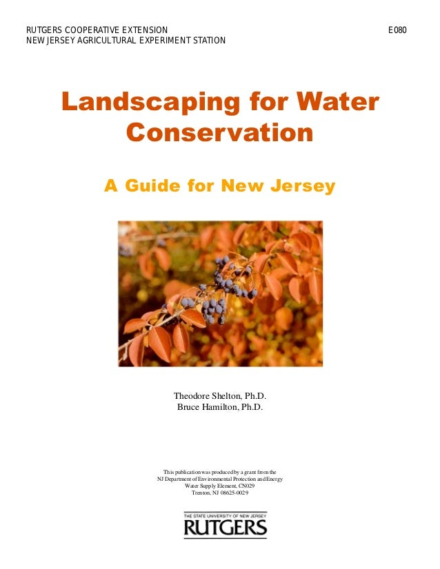 Landscaping for Water Conservation A Guide for New Jersey