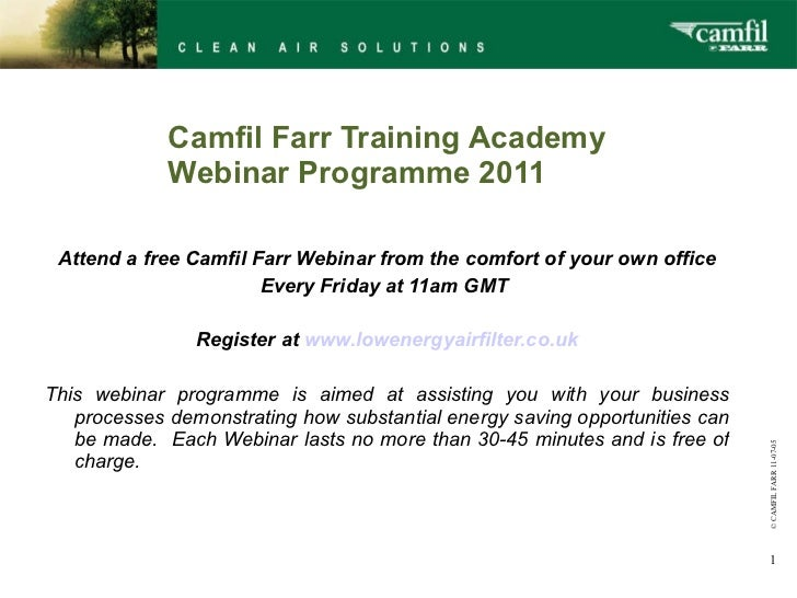 Land Securities AC energy examples  -  low energy air filter - webinar programme 2011