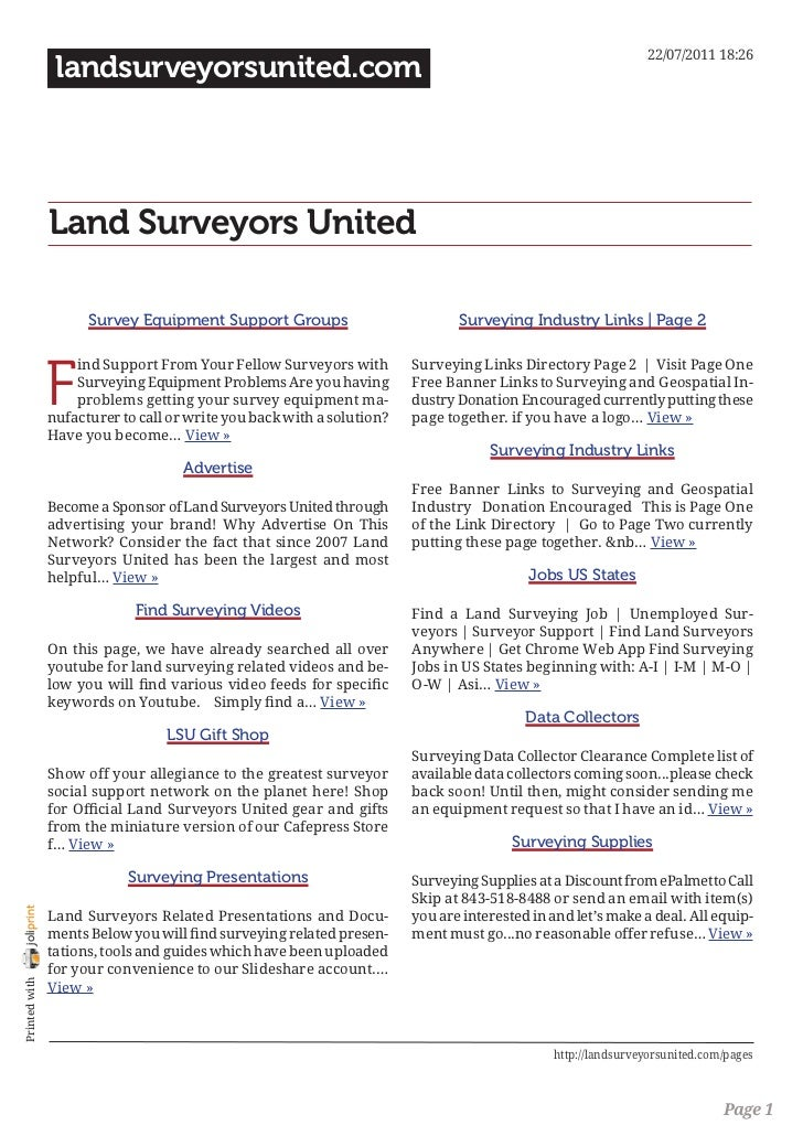 Landsurveyorsunited Surveying Topics and Pages