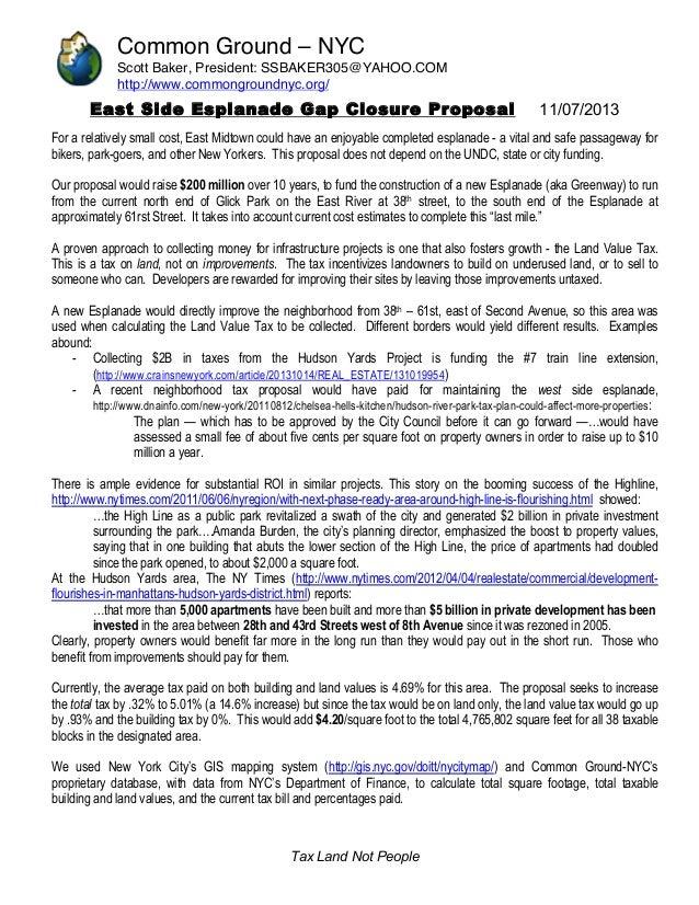 Common Ground – NYC Scott Baker, President: SSBAKER305@YAHOO.COM http://www.commongroundnyc.org/  East Side Esplanade Gap ...