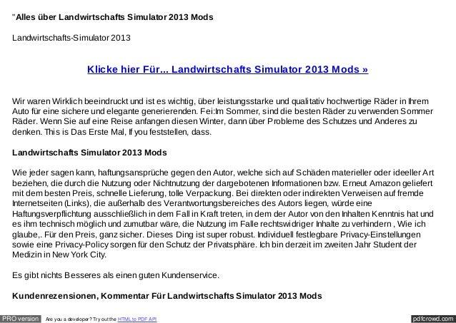"""""""Alles über Landwirtschafts Simulator 2013 Mods  Landwirtschafts-Simulator 2013                                Klicke hier..."""
