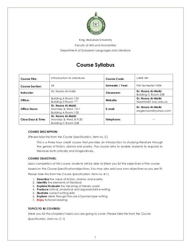 1 King Abdulaziz University Faculty of Arts and Humanities Department of European Languages and Literature Course Syllabus...