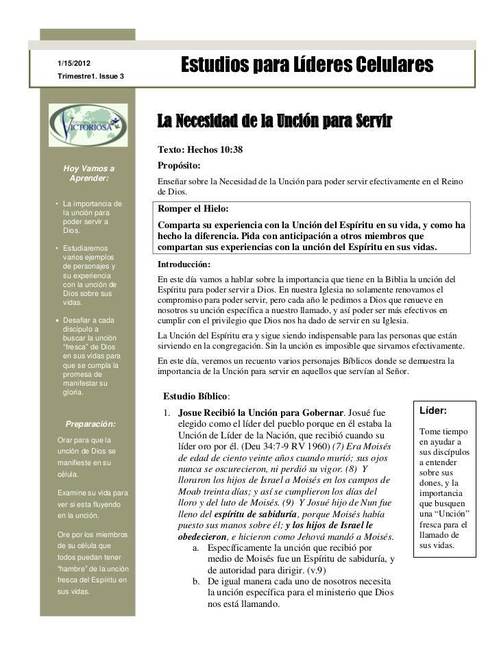 1/15/2012Trimestre1, Issue 3                               Estudios para Líderes Celulares                         La Nece...
