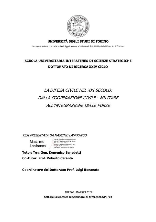 UNIVERSITÀ DEGLI STUDI DI TORINO      in cooperazione con la Scuola di Applicazione e Istituto di Studi Militari dellEserc...