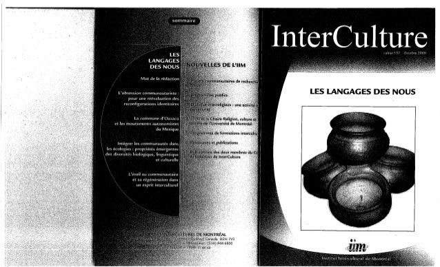 157-Les langages des «nous». Jean-François Lessard, Gustavo Esteva, Pramod Parajulil, Robert Vachon. (document à télécharg...