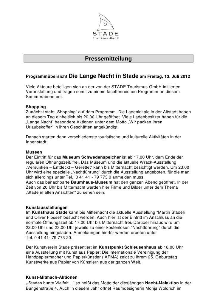 PressemitteilungProgrammübersicht Die      Lange Nacht in Stade am Freitag, 13. Juli 2012Viele Akteure beteiligen sich an ...