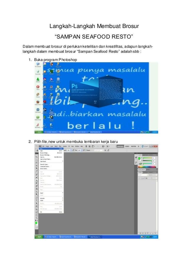 """Langkah-Langkah Membuat Brosur                  """"SAMPAN SEAFOOD RESTO""""Dalam membuat brosur di perlukan ketelitian dan krea..."""