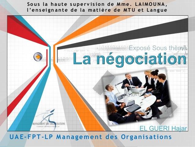 UAE-FPT-LP Management des Organisations S o u s l a h a u t e s u p e r v i s i o n d e M m e . L A I M O U N A , l ' e n ...