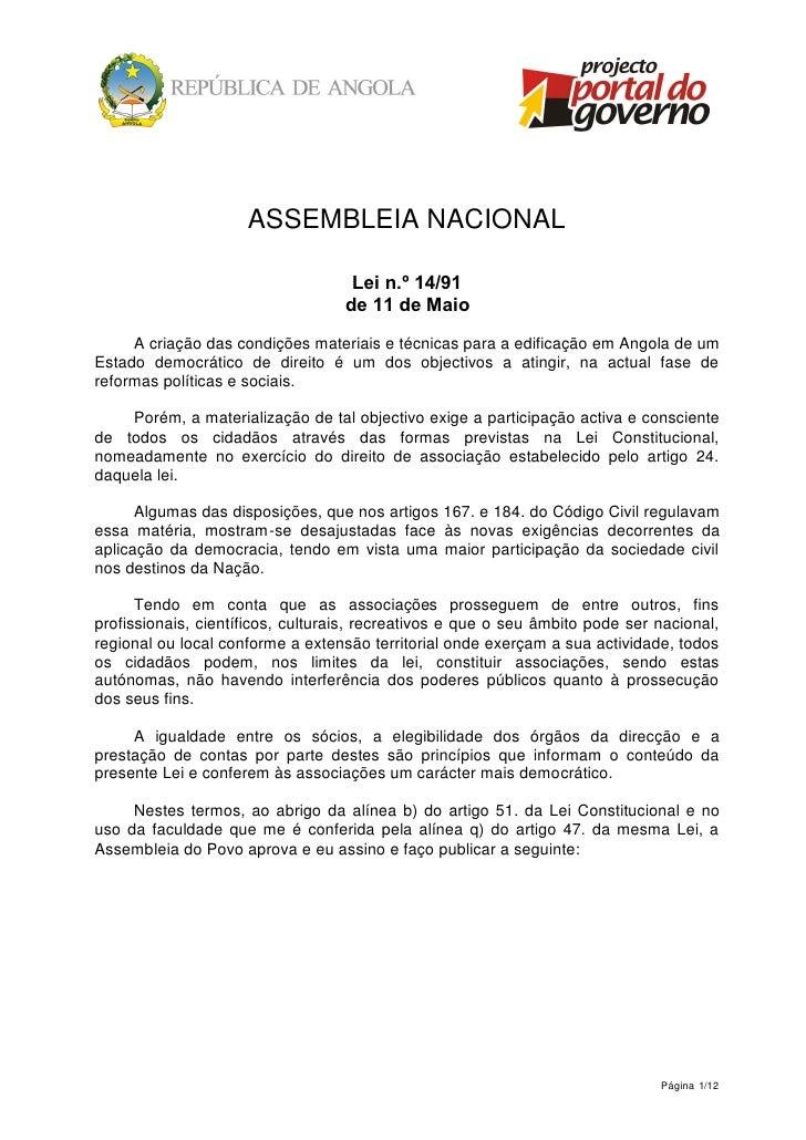 ASSEMBLEIA NACIONAL                                      Lei n.º 14/91                                    de 11 de Maio   ...