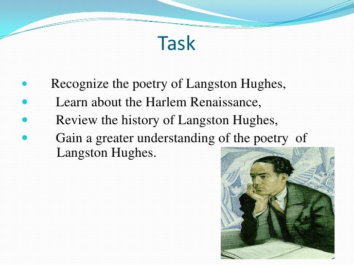 essay about the poem harlem by langston hughes Search term papers, college essay examples and free essays on essays24com - full papers database as the poem progresses benetheas dream is even more deffered when she finds out walter didn't put any of the money towards her medical school, from the check the family received.