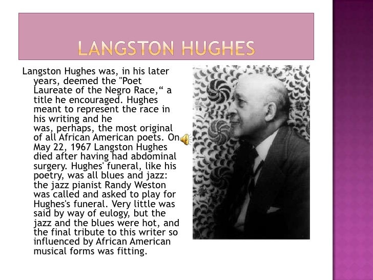 how langston hughes exemplifies the african american essay Research essay langston hughes achieved much the fact that hughes was of african american descent , writing during the 1900's further exemplifies his.