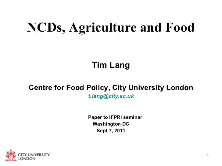 NCDs, Agriculture and Food