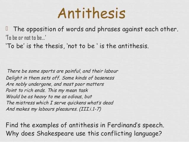 the use of antithesis A figure of speech or rhetorical figure  the use of a word or term that has recently been created, or has been in use for a short time opposite of archaism.