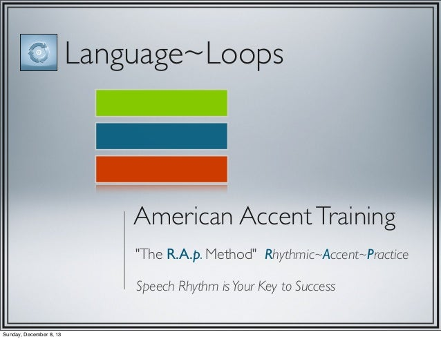 """Language~Loops  American Accent Training """"The R.A.p. Method"""" Rhythmic~Accent~Practice Speech Rhythm is Your Key to Success..."""
