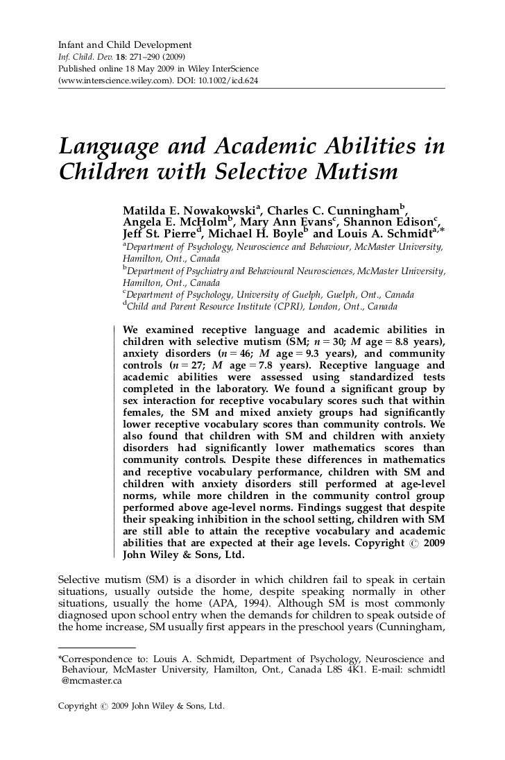 ). Language and academic abilities in children with selective mutism