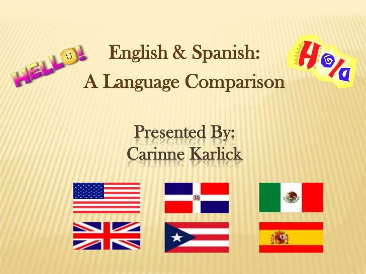 English & Spanish:A Language Comparison     Presented By:    Carinne Karlick