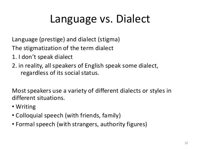Language Dialect And Varieties
