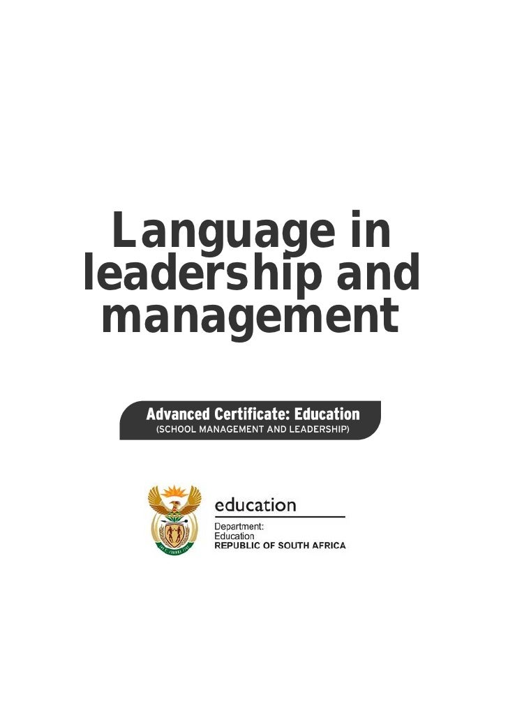Language in leadership and management: ACE School Management and Leadership (PDF)