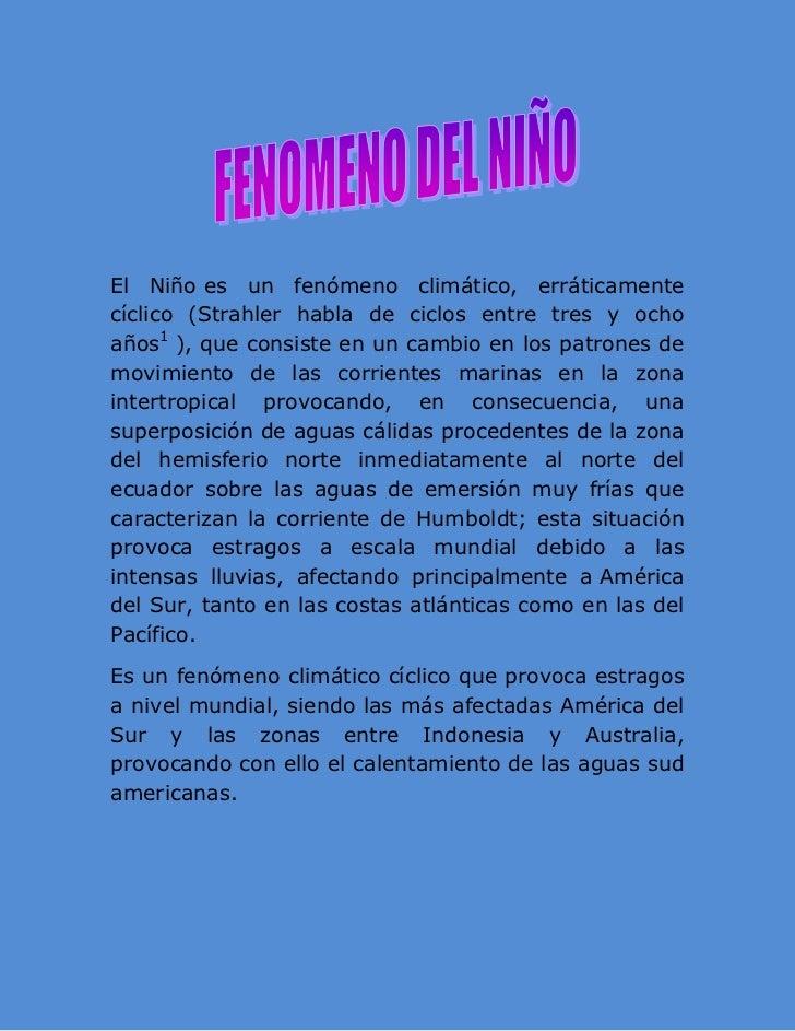 FENOMENO DEL NIÑO Y LA NIÑA