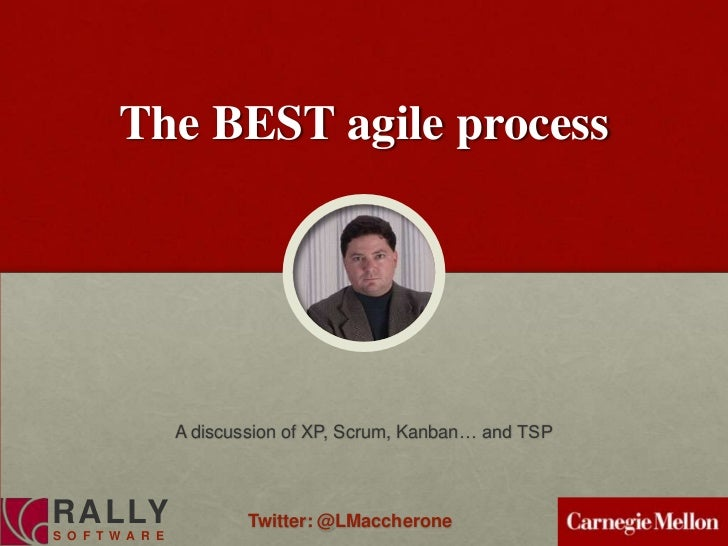 The BEST agile process                  A discussion of XP, Scrum, Kanban… and TSPRALLY                     Twitter: @LMac...
