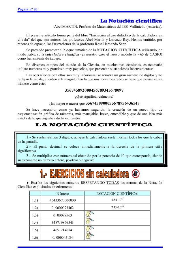 Página nº 26                                                        La Notación científica                        Abel MAR...